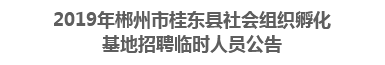 2019年郴州市桂东县社会组织孵化基地招聘临时人员公告