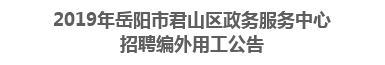 2019年岳阳市君山区政务服务中心招聘编外用工公告