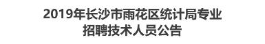 2019年长沙市雨花区统计局专业招聘技术人员公告