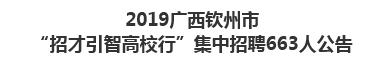 """2019广西钦州市""""招才引智高校行""""集中招聘663人公告"""
