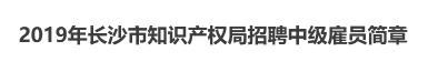 2019年长沙市知识产权局招聘中级雇员简章