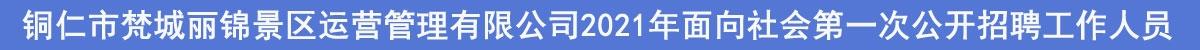 铜仁市梵城丽锦景区运营管理有限公司2021年面向社会第一次公开招聘工作人员公告